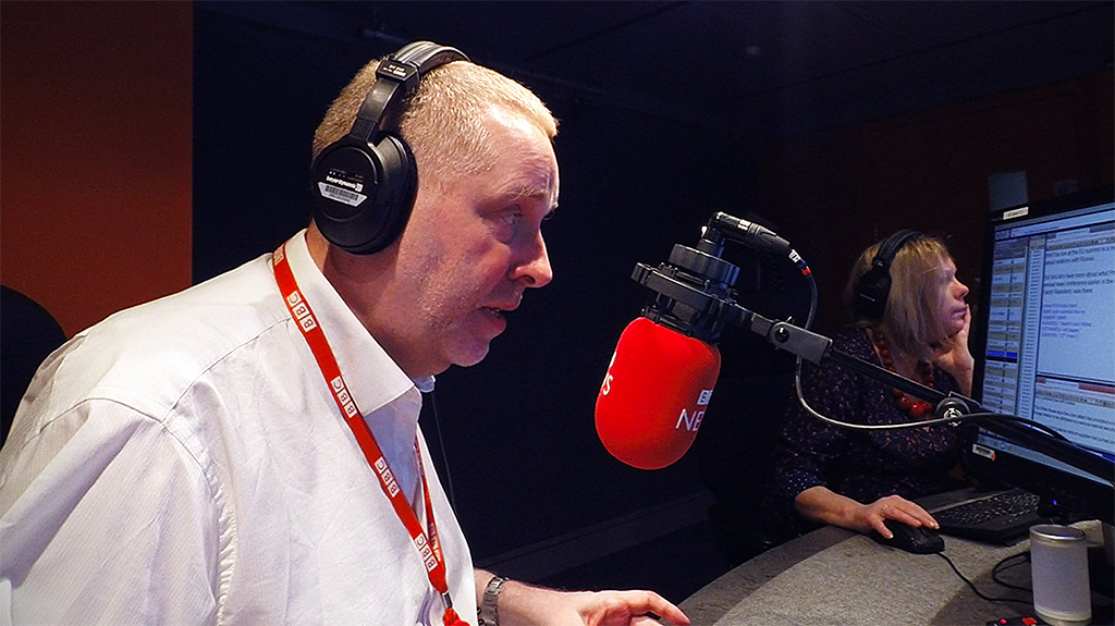 Danny presenting The Newsroom on the BBC World Service